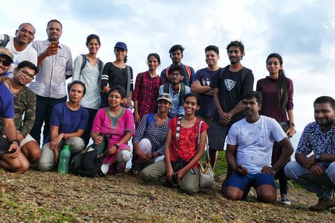 Participants at the end of a bird walk at Chidiyathapu.