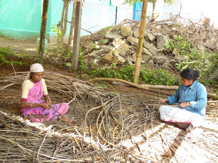 People working on stripping the Lantana bark.