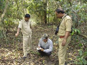 Researcher of Aaranyak giving hands on training to forest staff.