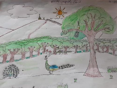 Drawing competition in Pwe Hla's High School.