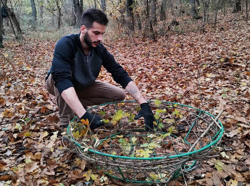 Setting up an artificial nesting platform for the Easter Imperial Eagles. © Maksim Karanović.